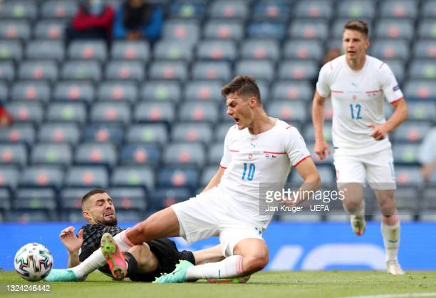 Patrik Schick of Czech Republic is challenged by Mateo Kovacic of Croatia during the UEFA Euro 2020 Championship Group D match between Croatia and...