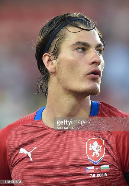 Patrik Schick of Czech Republic listens to the national anthems ahead the UEFA Euro 2020 qualifier Group A football match Czech Republic against...