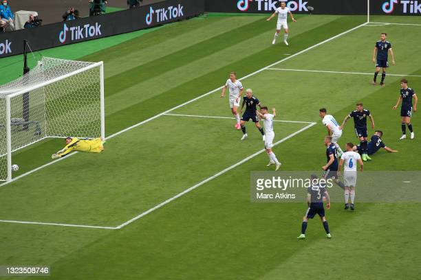 Patrik Schick of Czech Republic scores his team's first goal past David Marshall of Scotland during the UEFA Euro 2020 Championship Group D match...