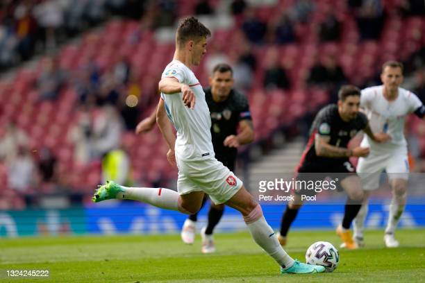 Patrik Schick of Czech Republic scores their side's first goal from the penalty spot during the UEFA Euro 2020 Championship Group D match between...