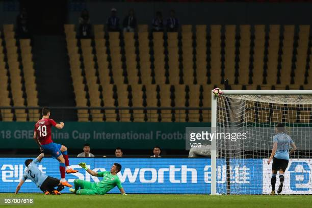 Patrik Schick of Czech Republic shoots the ball during the 2018 China Cup International Football Championship match between Uruguay and Czech...