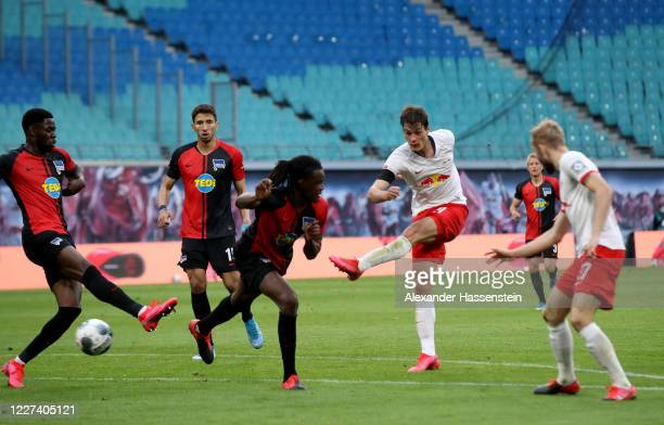 Patrik Schick of Leipzig scores his teams 2nd goal during the Bundesliga match between RB Leipzig and Hertha BSC at Red Bull Arena on May 27, 2020 in...