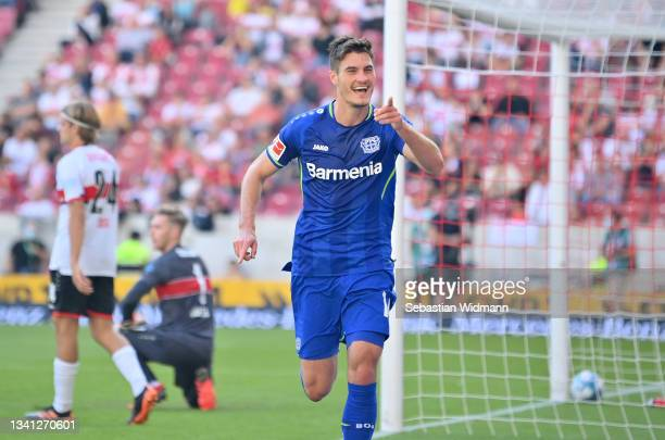 Patrik Schick of Leverkusen celebrates his 0-2 goal of Stuttgart during the Bundesliga match between VfB Stuttgart and Bayer 04 Leverkusen at...