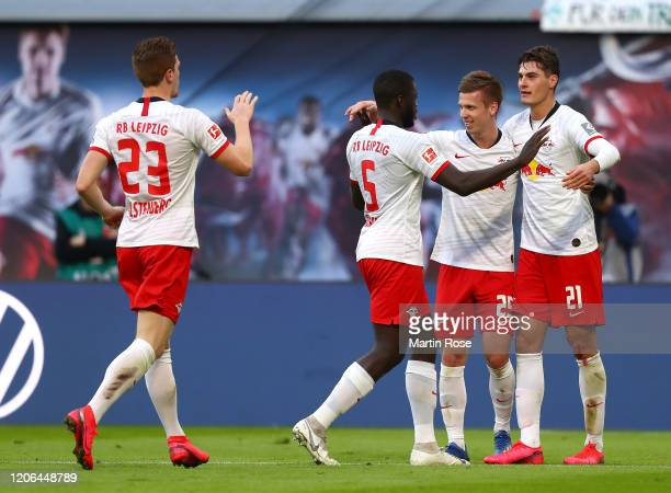 Patrik Schick of RB Leipzig celebrates with teammates after scoring his team's second goal during the Bundesliga match between RB Leipzig and SV...