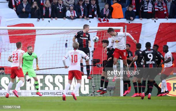 Patrik Schick of RB Leipzig scores his team's first goal during the Bundesliga match between RB Leipzig and Bayer 04 Leverkusen at Red Bull Arena on...