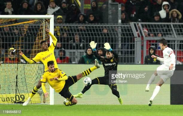 Patrik Schick of RB Leipzig scores his team's third goal during the Bundesliga match between Borussia Dortmund and RB Leipzig at Signal Iduna Park on...
