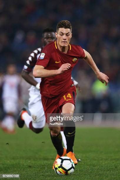 Patrik Schick of Roma during the Italian Serie A football match between AS Roma and FC Torino at the Olympic Stadium in Rome on march 09 2018