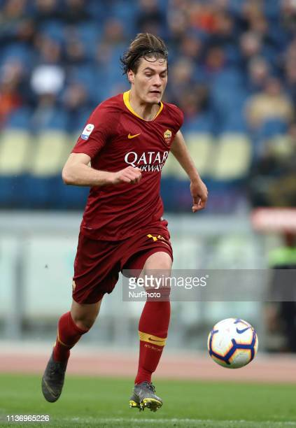 Patrik Schick of Roma during the Italian Serie A football match AS Roma v Udinese at the Olimpico Stadium in Rome Italy on April 13 2019