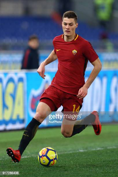 Patrik Schick of Roma during the serie A match between AS Roma and Benevento Calcio at Stadio Olimpico on February 11 2018 in Rome Italy