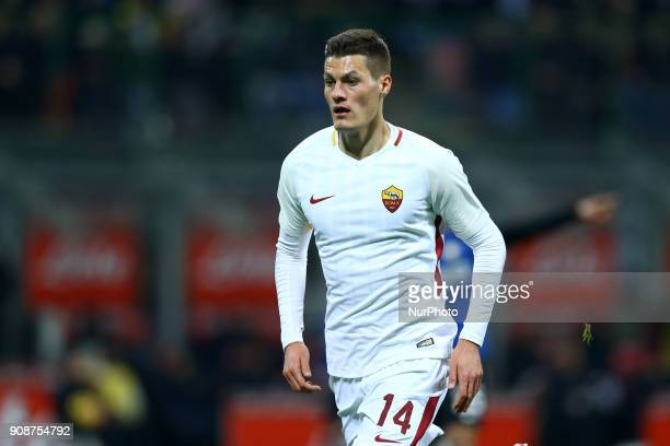 Patrik Schick of Roma during the Serie A match between FC Internazionale and AS Roma at Stadio Giuseppe Meazza on January 21 2018 in Milan Italy