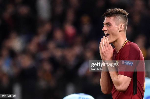 Patrik Schick of Roma looks dejected during the UEFA Champions League Quarter Final match between Roma and FC Barcelona at Stadio Olimpico Rome Italy...