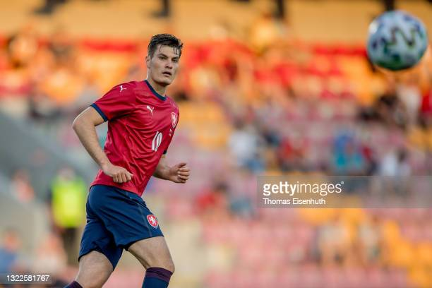 Patrik Schick of the Czech Republic in action during the international friendly match between the Czech Republic and Albania at Generali Arena on...