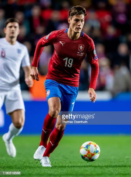 Patrik Schick of the Czech Republic in action during the UEFA Euro 2020 qualifier between Czech Republic and England at Eden Arena on October 11,...
