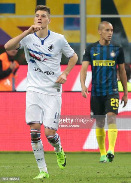 Patrik Schick of UC Sampdoria celebrates his goal during the Serie A match between FC Internazionale and UC Sampdoria at Stadio Giuseppe Meazza on...