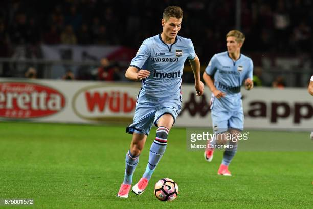 Patrik Schick of Uc Sampdoria in action during the Serie A match between Torino Fc and Uc Sampdoria The match ended in a 11 draw