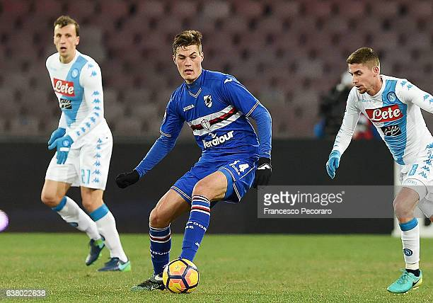 Patrik Schick of UC Sampdoria in action during the Serie A match between SSC Napoli and UC Sampdoria at Stadio San Paolo on January 7 2017 in Naples...