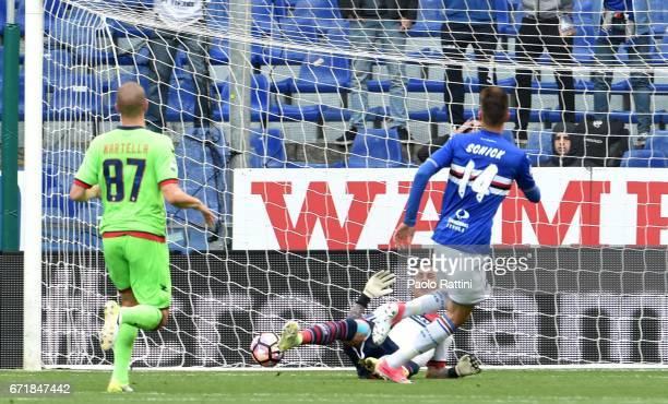 Patrik Schick score 10 during the Serie A match between UC Sampdoria and FC Crotone at Stadio Luigi Ferraris on April 23 2017 in Genoa Italy