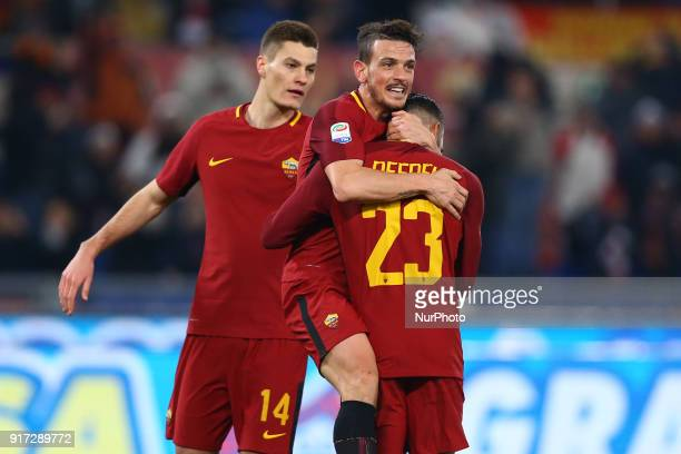 Patrik Schick with Alessandro Florenzi and Gregoire Defrel of Roma celebrate during the serie A match between AS Roma and Benevento Calcio at Stadio...