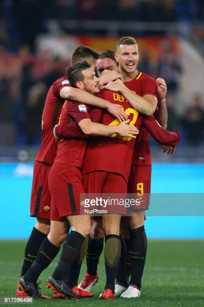 Patrik Schick with Alessandro Florenzi Daniele De Rossi Edin Dzeko and Gregoire Defrel of Roma celebrate during the serie A match between AS Roma and...