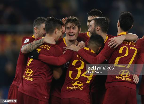 Patrik Schick with his teammates of AS Roma celebrates after scoring the team's third goal during the Coppa Italia match between AS Roma and Entella...