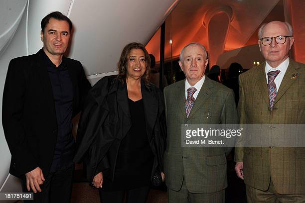 Patrik Schumacher Zaha Hadid Gilbert Prousch and George Passmore attend a donors dinner hosted by Michael Bloomberg Graydon Carter to celebrate the...