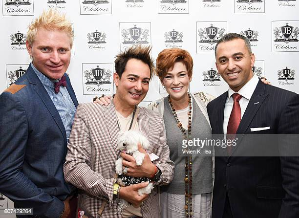 Patrik Simpson Pol Atteu Carolyn Hennesy and designer Jerry Bakhchyan attend EcoLuxe Lounge Celebrates the Emmys at The Beverly Hilton on September...