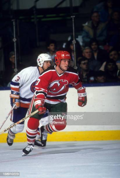 Patrik Sundstrom of the New Jersey Devils skates on the ice during an NHL game against the New York Islanders on December 12 1987 at the Nassau...