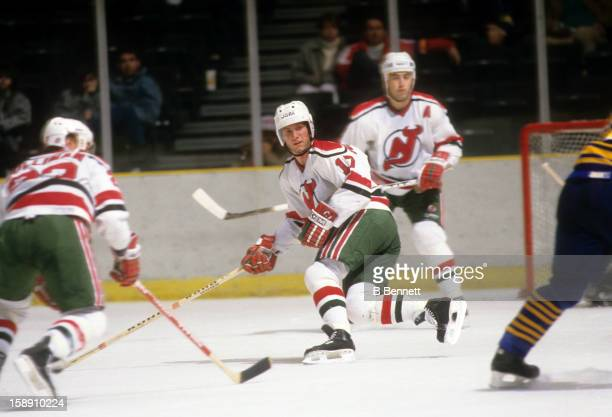 Patrik Sundstrom of the New Jersey Devils skates on the ice during an NHL game against the Buffalo Sabres on January 25, 1988 at the Brendan Byrne...