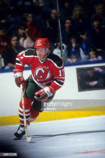 Patrik Sundstrom of the New Jersey Devils skates on the ice during an NHL game against the New York Islanders on January 16 1988 at the Nassau...