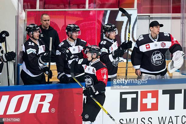 Patrik Virta of TPS Turku celebrate his goal during the Champions Hockey League Round of 32 match between TPS Turku and IFK Helsinki at Gatorade...