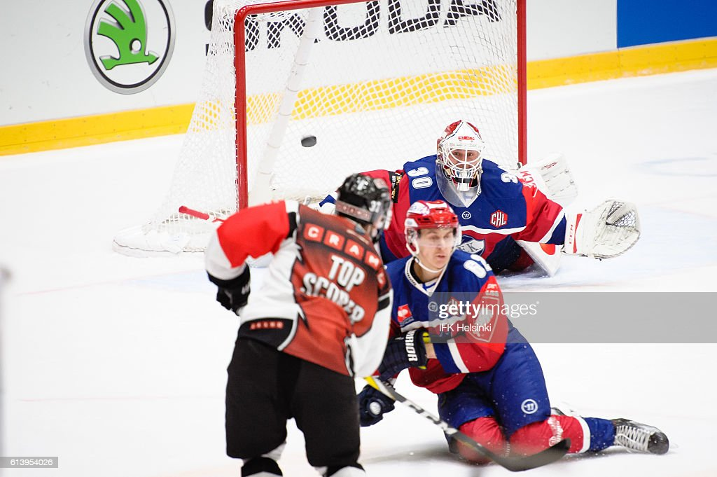 #37 Patrik Virta of TPS Turku gets on the overtime close but no goal during the Champions Hockey League Round of 32 match between IFK Helsinki and TPS Turku at Helsingin Jaahalli on October 11, 2016 in Helsinki, Finland.