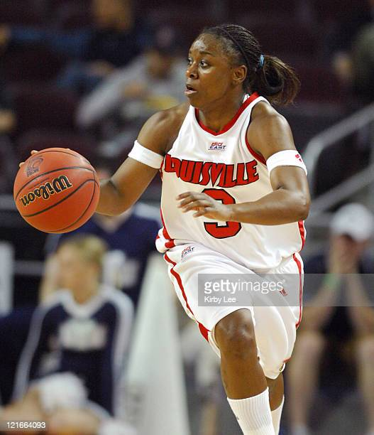 Patrika Barlow of Louisville dribbles upcourt during 8054 victory over BYU in NCAA Women's Basketball Tournament firstround game at the Galen Center...