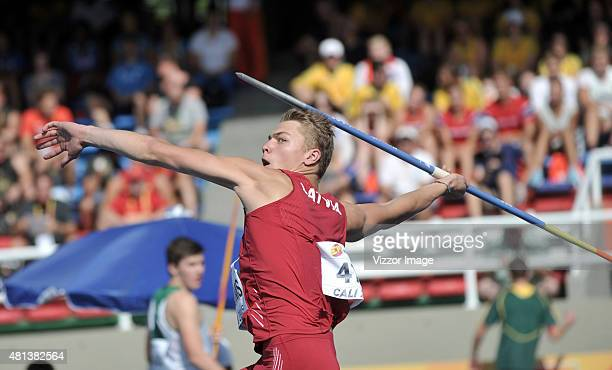Patriks Gailums of Latvia competes in Boys Javelin Throw event on day five of the IAAF World Youth Championships Cali 2015 on July 19 2015 at the...