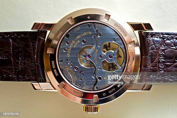 A Patrimony Traditionelle wristwatch by Vacheron Constanin a watchmaking unit of Cie Financiere Richemont SA is arranged for a photograph during the...