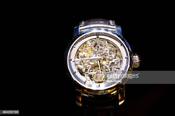 A Patrimony Traditionnelle 14day Tourbillon openwork luxury wristwatch manufactured by Vacheron Constantin a watchmaking unit of Cie Financiere...