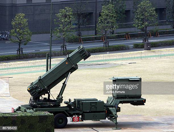 Patriot Advanced Capability3 interceptors are located at Ministry of Defense on April 4 2009 in Tokyo Japan North Korea has said it will launch...