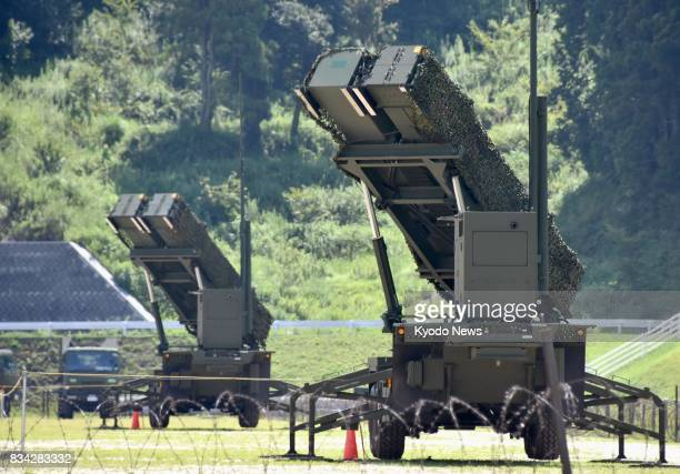 Patriot Advanced Capability3 missile interceptors are deployed at the Ground SelfDefense Force's base in the city of Konan on Aug 18 during an...