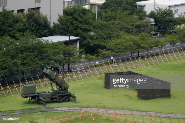 A Patriot Advanced Capability3 missile launch system stands at the Ministry of Defense in Tokyo Japan on Tuesday Aug 29 2017 North Korea fired an...