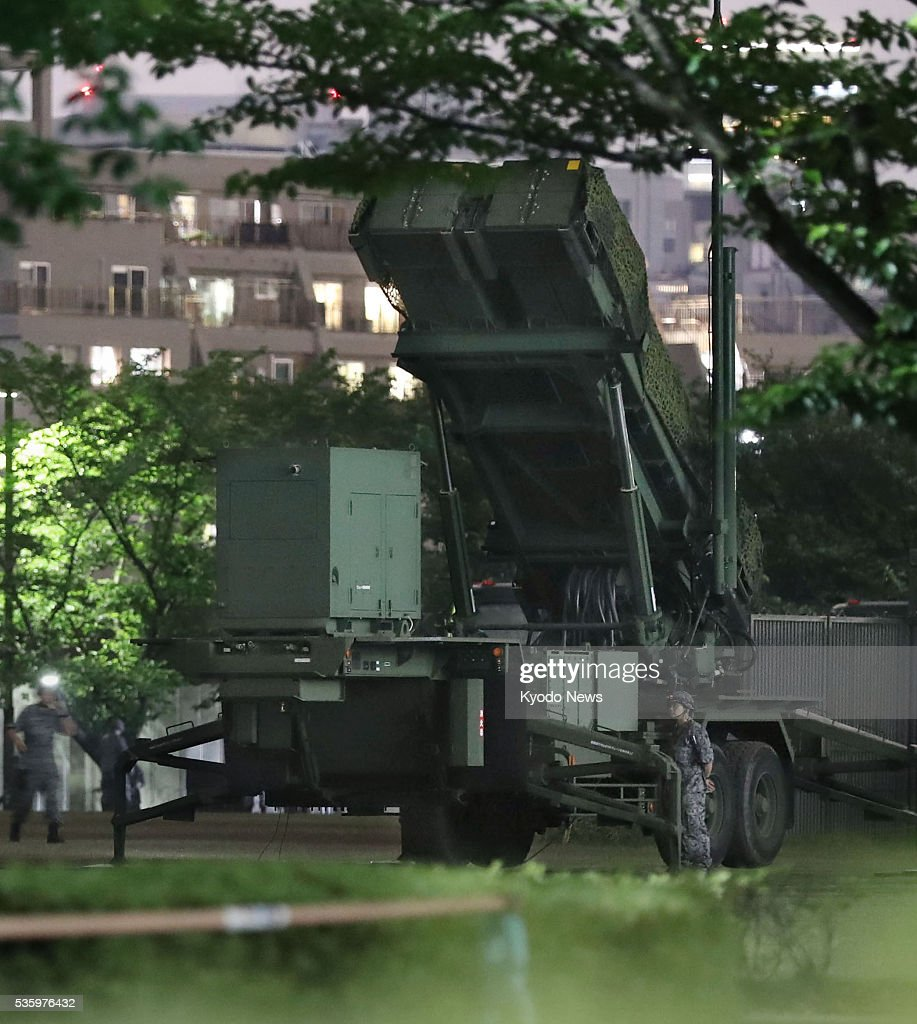 Patriot Advanced Capability-3 surface-to-air missile interceptors are installed on the Defense Ministry premises in Tokyo on May 30, 2016. Japanese Defense Minister Gen Nakatani ordered the Self-Defense Forces to prepare to intercept a possible North Korean missile amid signs Pyongyang may go ahead with a ballistic missile launch in defiance of U.N. resolutions.