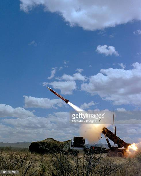A MIM-104 Patriot anti-aircraft missile is fired during a training exercise.