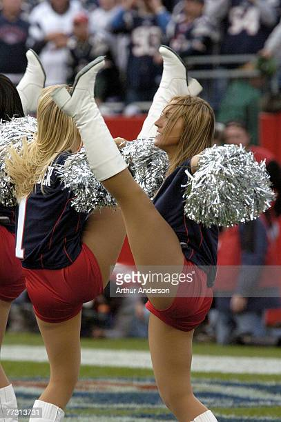 Patriot cheerleaders show off some high kicking The New England Patriots defeated the Seattle Seahawks by a score of 30 to 20 at Gillette Stadium...