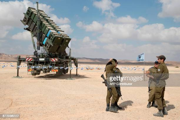 A Patriot missile launcher is pictured during the Blue Flag multinational air defence exercise at the Ovda air force base north of the Israeli city...