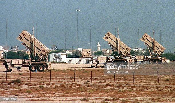 Patriot missiles are displayed outside Bayan palace 15 km south of Kuwait City to protect the Emir palace from any Iraqi attack The United States...