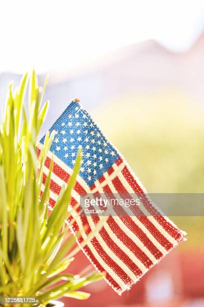patriotic american flag in nature for memorial day - memorial day background stock pictures, royalty-free photos & images