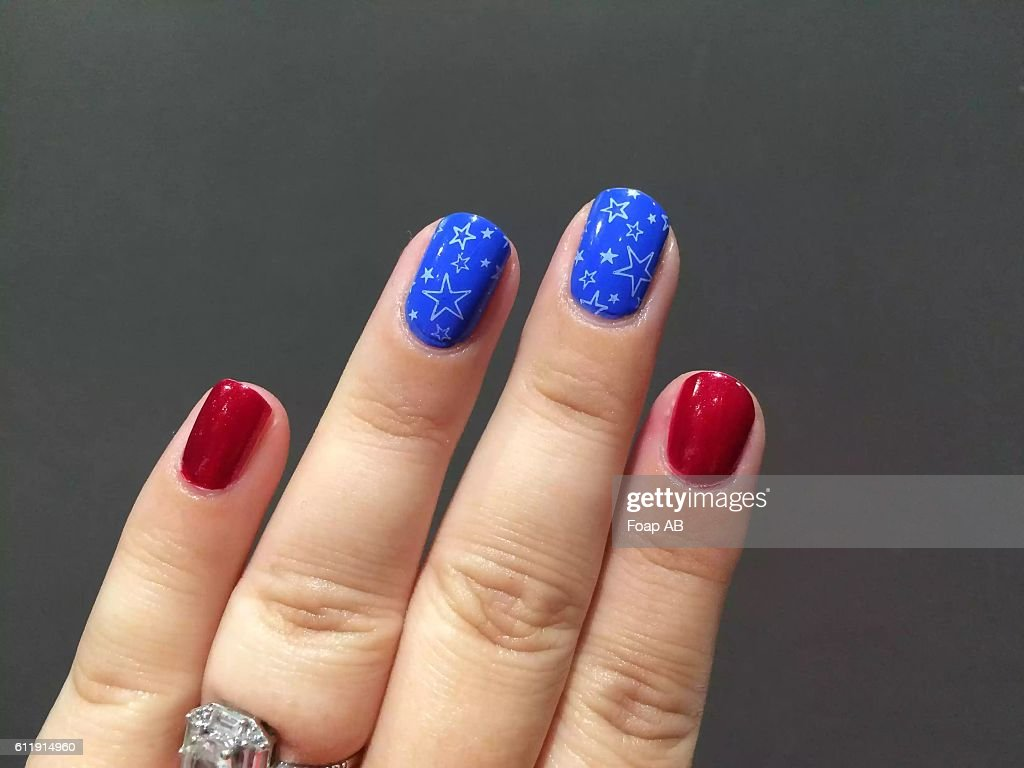 Patriotic American Flag Nail Art Stock Photo Getty Images