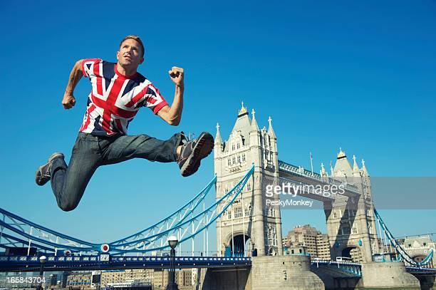 Patriotic Athletic Union Jack Man Jumps Over Tower Bridge London