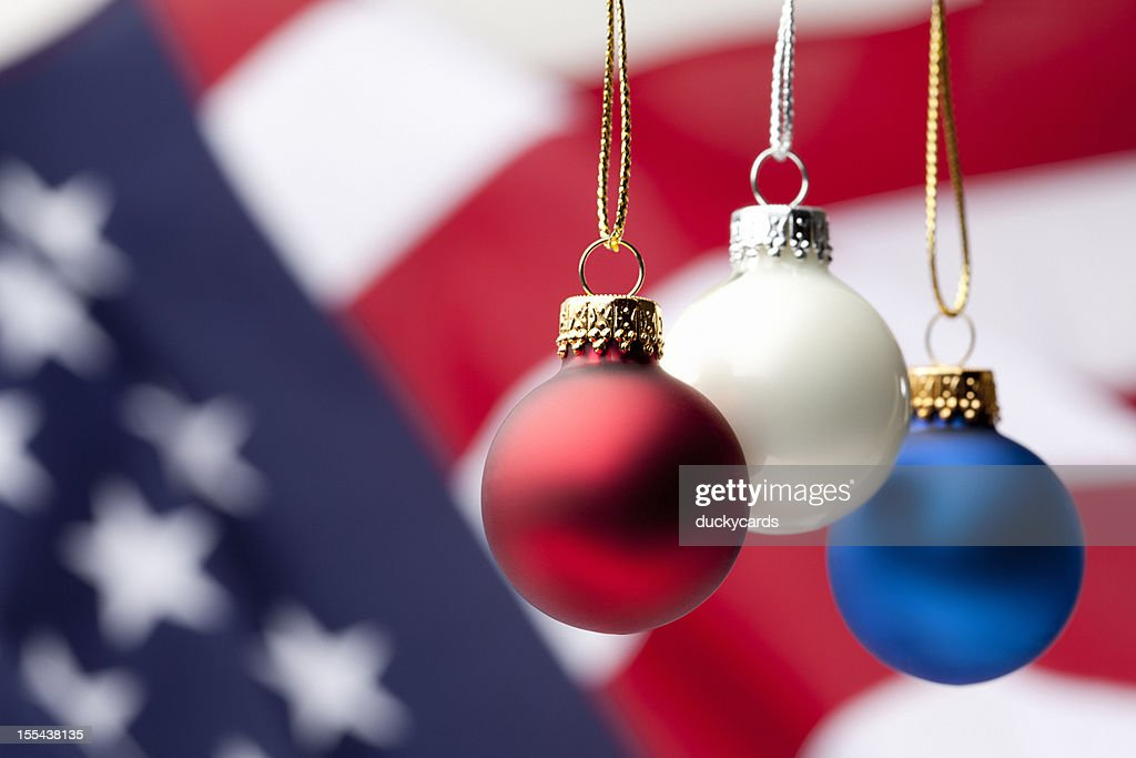 Patriotic Christmas.Patriotic Christmas Ornaments And Usa Flag High Res Stock