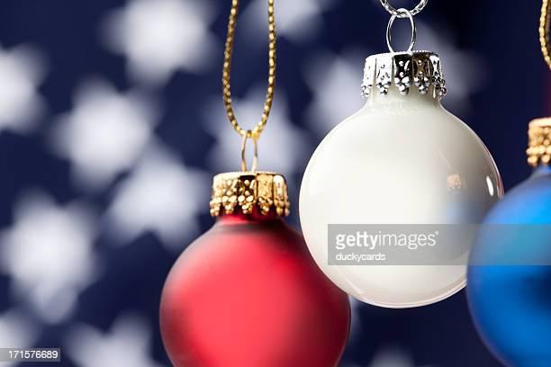 Patriotic Christmas Ornaments and USA Flag