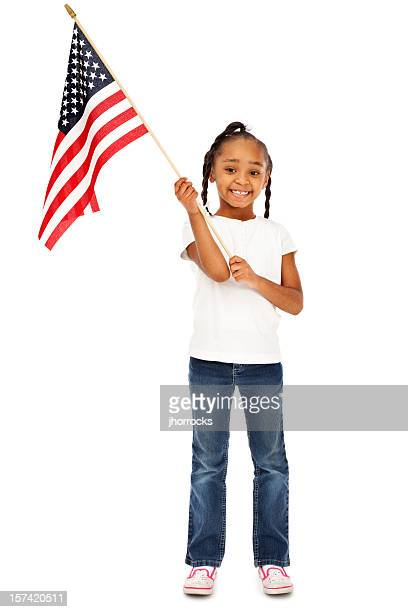 Patriotic Girl with American Flag