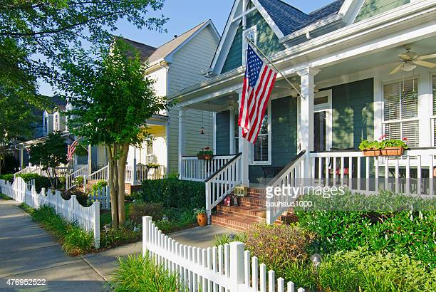 patriotic neighborhood with american flags - template_talk:south_carolina stock pictures, royalty-free photos & images